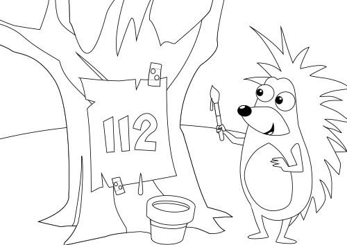Vorschau Ausmalbild Igelchen Baum 112