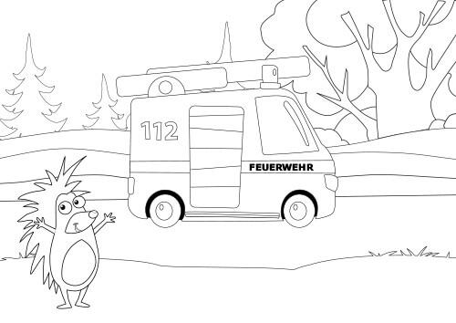 Vorschau Ausmalbild Igelchen Feuerwehr 112