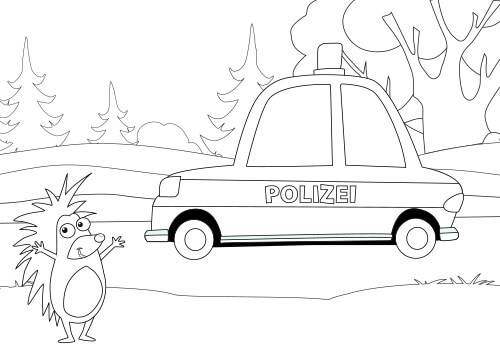 Vorschau Ausmalbild Igelchen Polizei 110