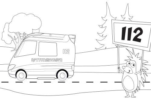 Vorschau Ausmalbild Igelchen Rettungswagen 112