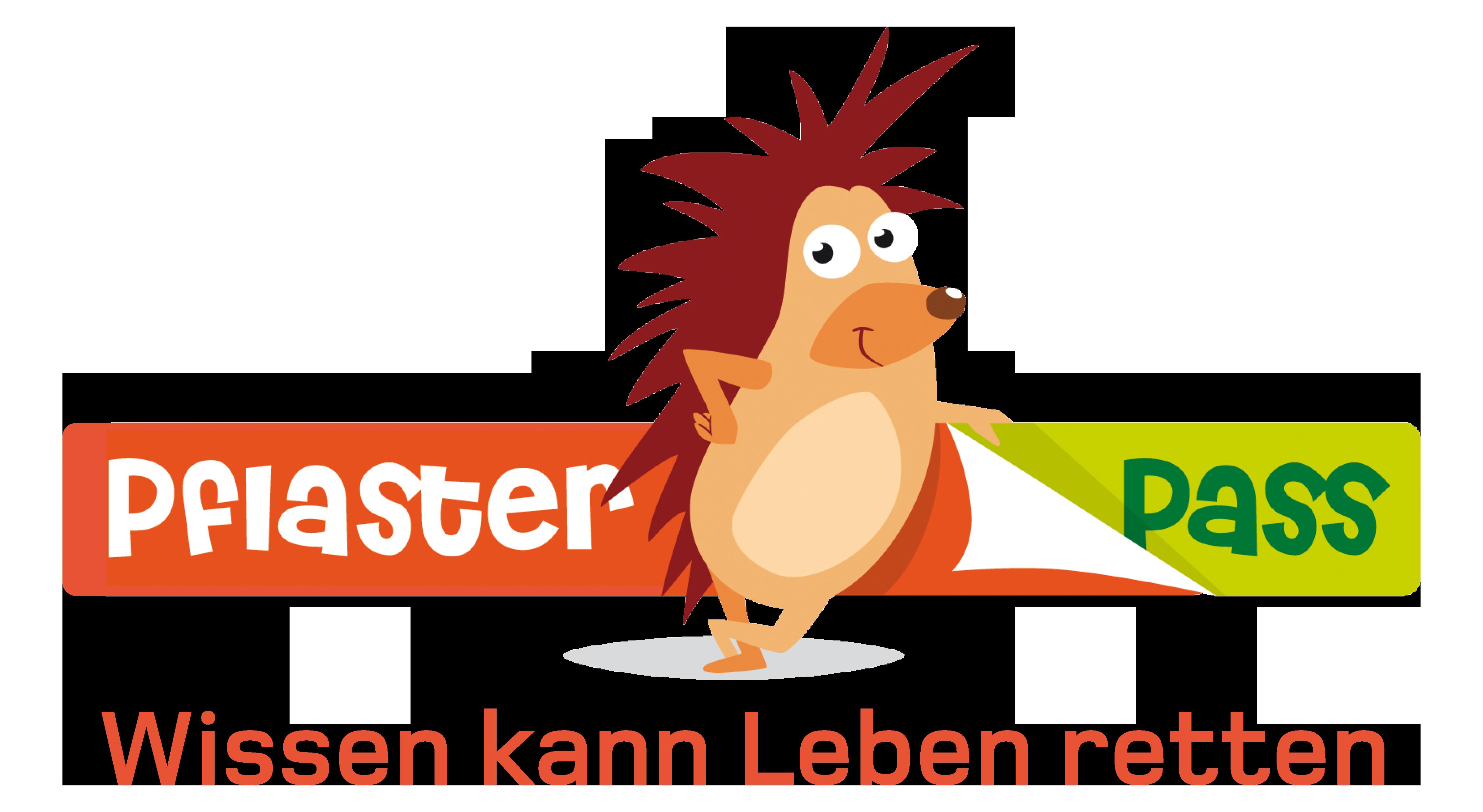 Logo Pflasterpass mit Schriftzug Wissen kann Leben retten